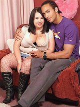 Hung black brother gets lucky with a hot brunette fattie in sexy fishnets